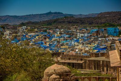 The View from Mehrangarh Fort of the Blue Rooftops in Jodhpur, the Blue City, Rajasthan-Laura Grier-Photographic Print