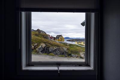 The View of Cottages in an Arctic Village Through a Weather-Sealed Window-Jason Edwards-Photographic Print