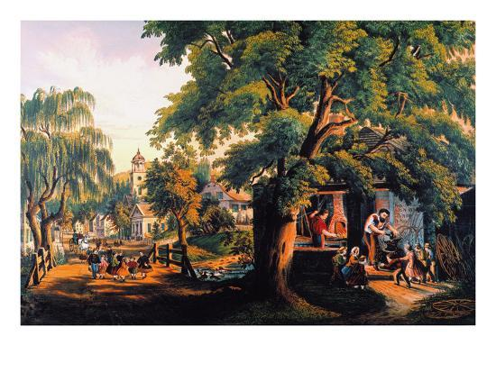 The Village Blacksmith-Currier & Ives-Giclee Print