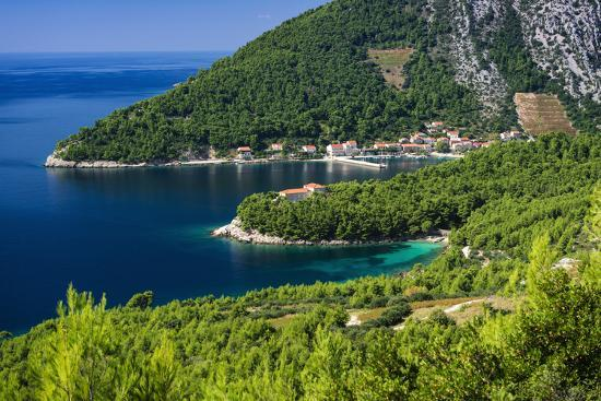 The village of Trstenik on the Peljesac Peninsula above the Adriatic Sea, Dalmatia, Croatia-Russ Bishop-Photographic Print