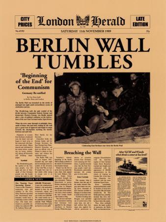 Berlin Wall Tumbles by The Vintage Collection