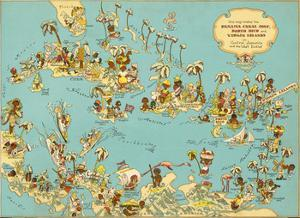 Caribbean Map: Sunshine and Happiness by The Vintage Collection