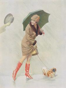 Girl with Boots and Dog by The Vintage Collection