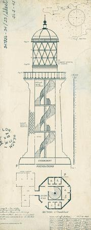 Lighthouse Plans I by The Vintage Collection