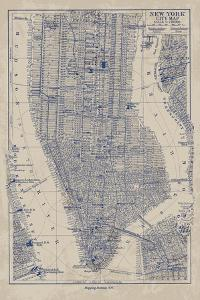 Manhattan Map by The Vintage Collection