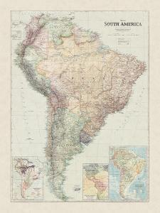 Map of South America by The Vintage Collection