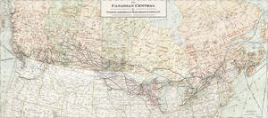 The Canadian Central and North American Railroad Map by The Vintage Collection