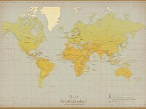 Vintage World Map by The Vintage Collection