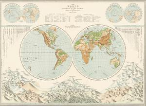 World Map - Distribution of Lord and Water by The Vintage Collection