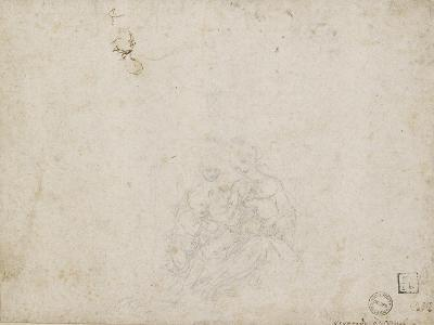 The Virgin and Child Adored (Lead Point over Indentations with the Stylus on Off-White Paper)-Leonardo da Vinci-Giclee Print