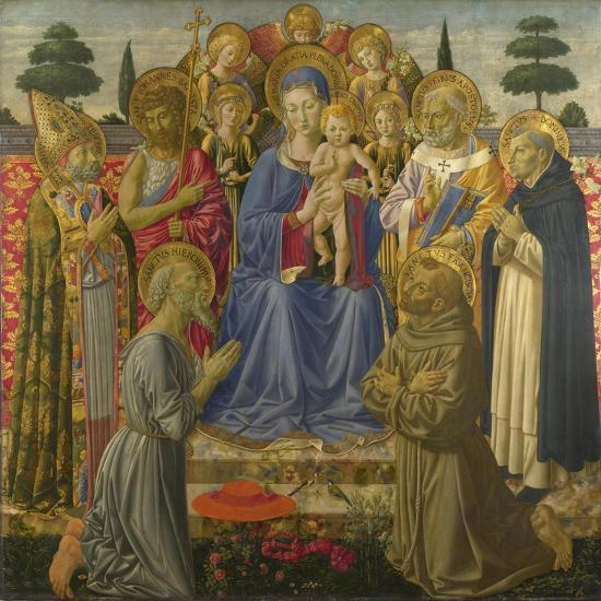 The Virgin and Child Enthroned Among Angels and Saints, 1460S-Benozzo Gozzoli-Giclee Print