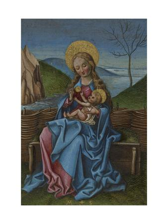 The Virgin and Child on a Grassy Bench-Martin Schongauer-Giclee Print