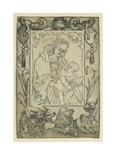 The Virgin and Child Surrounded by a Border with a Hunter and Some Rabbits (Woodcut-Hans Sebald Beham-Giclee Print