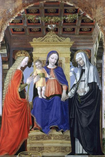 The Virgin and Child with Saint Catherine of Alexandria and Saint Catherine of Siena, C1490-Ambrogio Bergognone-Giclee Print