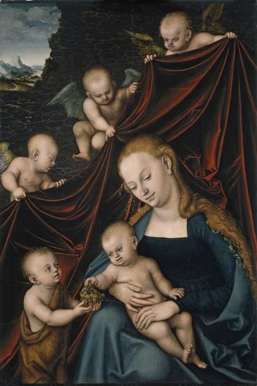 The Virgin and Child with Saint John and Angels-Lucas Cranach the Elder-Giclee Print