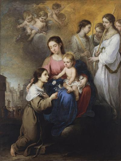 The Virgin and Child with Saint Rose of Viterbo-Bartolom? Esteb?n Murillo-Giclee Print