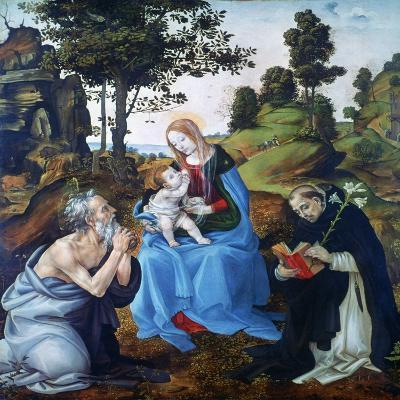 The Virgin and Child with Saints Jerome and Dominic, C1485-Filippino Lippi-Giclee Print