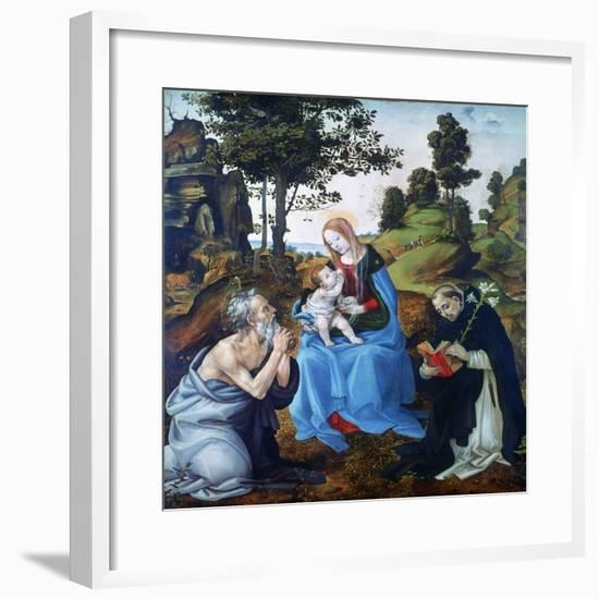 The Virgin and Child with Saints Jerome and Dominic, C1485-Filippino Lippi-Framed Giclee Print