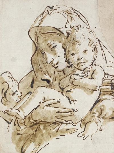 The Virgin and Child with the Infant St John (Pen and Brown Ink with Brown Wash over Black Chalk on-Giovanni Battista Tiepolo-Giclee Print