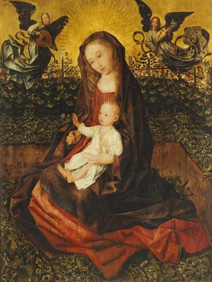 The Virgin and Child with Two Music-Making Angels in a Rose Garden-Rogier van der Weyden-Giclee Print