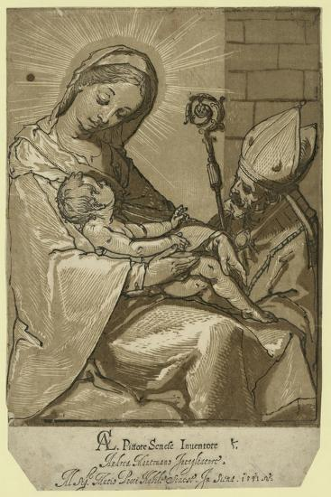 The Virgin, Child, and a Bishop, Andreani, Andrea, Approximately 1560-1623--Giclee Print