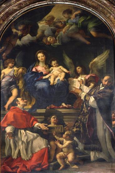 The Virgin Enthroned Between Saints Carlo Borromeo and Ignatius of Loyola, C.1685-Carlo Maratti-Giclee Print