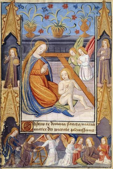 The Virgin Mary and the Baby Jesus, Miniature from the Book of Hours Use of Poitiers--Giclee Print