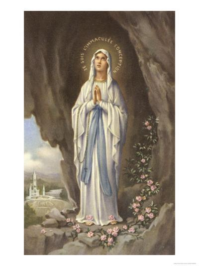 The Virgin Mary as Supposedly Seen by Bernadette, a Highly Romanticised Italian Depiction--Giclee Print
