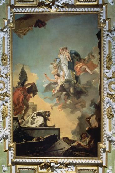 The Virgin of Carmel Giving the Scapula to the Blessed Simon Stock, 1740's-Giovanni Battista Tiepolo-Stretched Canvas Print