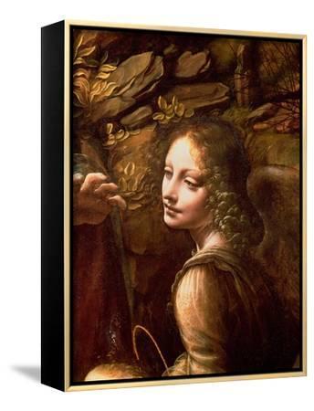 The Virgin of the Rocks (The Virgin with the Infant St. John Adoring the Infant Christ)-Leonardo da Vinci-Framed Canvas Print