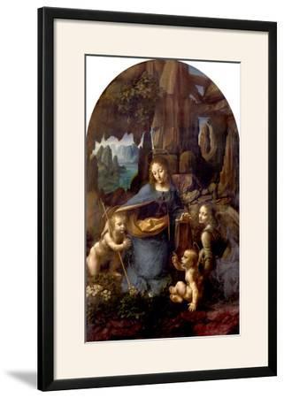 The Virgin of the Rocks (With the Infant St. John Adoring the Infant Christ) circa 1508-Leonardo da Vinci-Framed Giclee Print
