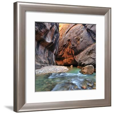 The Virgin River Rushing Through the Narrows in Zion National Park-Keith Ladzinski-Framed Photographic Print
