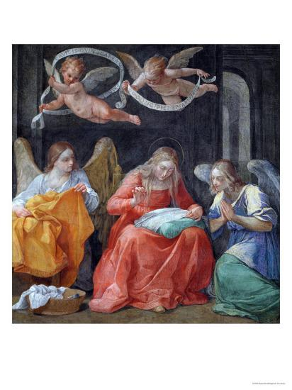 """The Virgin Sewing, from the """"Cappella Dell'Annunciata"""" 1610-Guido Reni-Giclee Print"""