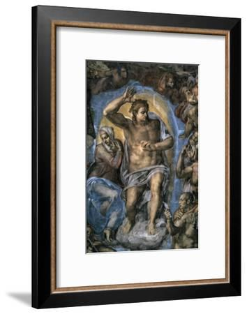 The Virgin Trying to Intercede with Christ-Michelangelo Buonarroti-Framed Giclee Print