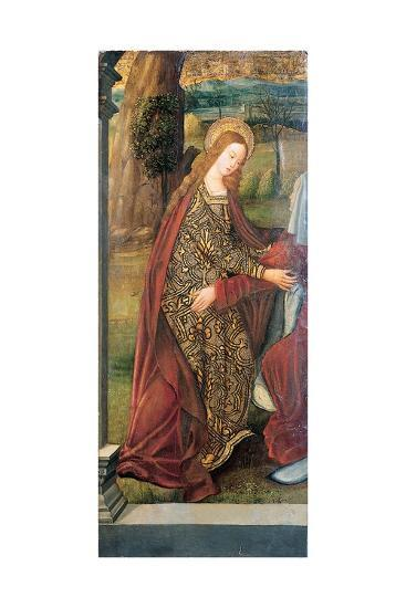 The Visitation - a Wing of an Altarpiece, a Fragment (Oil on Gold Ground Panel)-Pedro Berruguete-Giclee Print