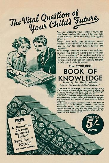'The Vital Question of your Child's Future - The Book of Knowledge', 1935-Unknown-Giclee Print