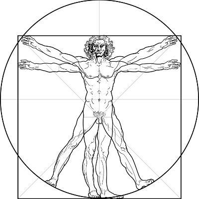 The Vitruvian Man, or Leonardo's Man-Green Ocean-Art Print