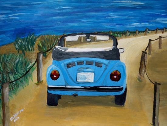 The VW Bug Series - The Blue Volkswagen Bug at the Beach-Martina Bleichner-Art Print
