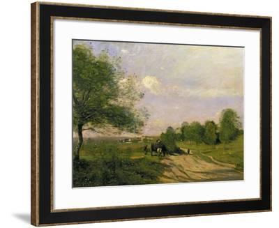 The Wagon, Souvenir of Saintry, 1874-Jean-Baptiste-Camille Corot-Framed Giclee Print