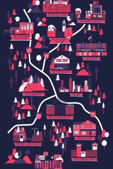 The Walking Dead Map-Robert Farkas-Art Print
