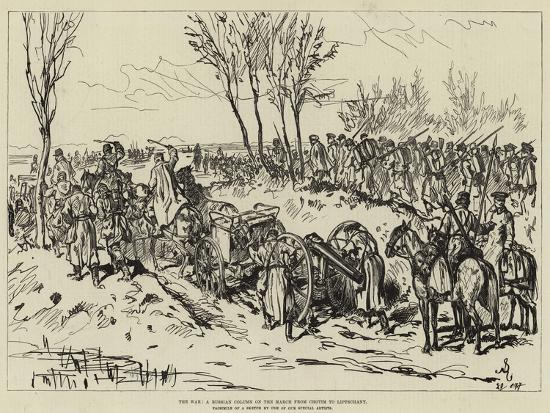 The War, a Russian Column on the March from Chotim to Liptschany--Giclee Print