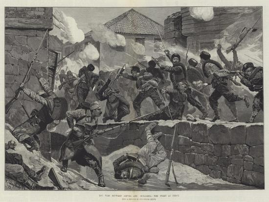 The War Between Servia and Bulgaria, the Fight at Pirot-Richard Caton Woodville II-Giclee Print