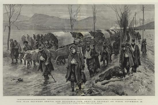 The War Between Servia and Bulgaria, the Servian Retreat on Nisch, 26 November-Frederic Villiers-Giclee Print