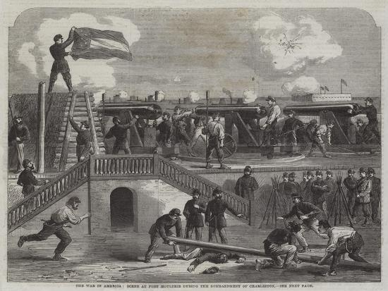 The War in America, Scene at Fort Moultrie During the Bombardment of Charleston--Giclee Print