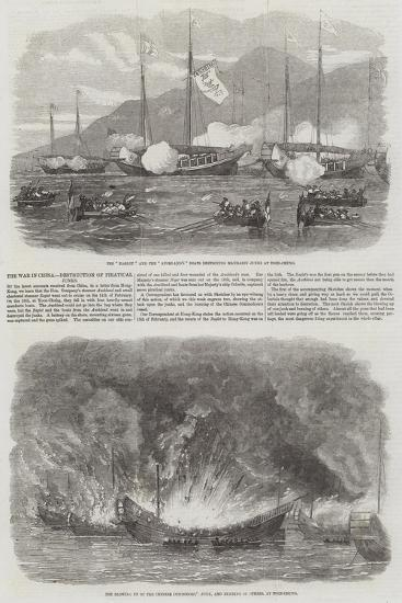 The War in China, Destruction of Piratical Junks--Giclee Print