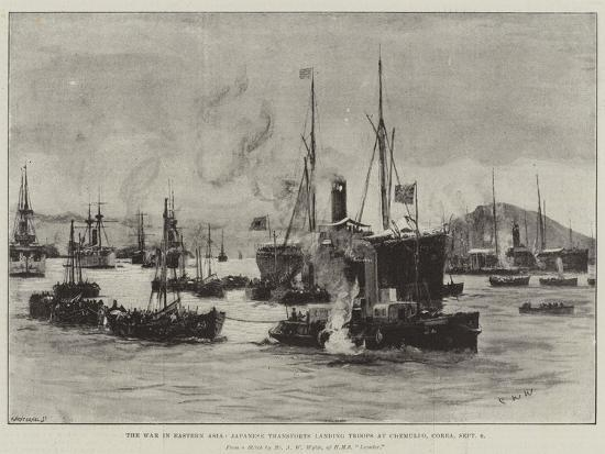 The War in Eastern Asia, Japanese Transports Landing Troops at Chemulpo, Corea, 9 September-Charles William Wyllie-Giclee Print