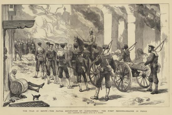 The War in Egypt, the Naval Occupation of Alexandria, the First Reconnaissance in Force-Frederic Villiers-Giclee Print
