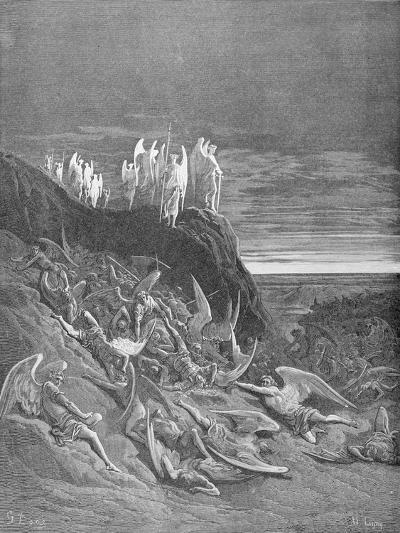 The War in Heaven, from Book VI of 'Paradise Lost' by John Milton (1608-74) Engraved by A. Ligny,…-Gustave Dor?-Giclee Print