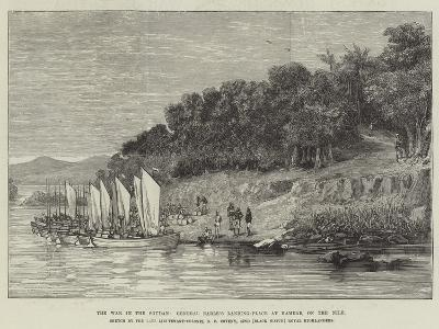 The War in the Soudan, General Earle's Landing-Place at Hamdab, on the Nile--Giclee Print