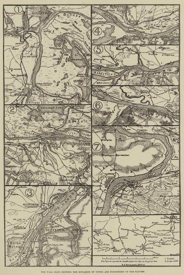 The War, Maps Showing the Situation of Towns and Fortresses on the Danube--Giclee Print